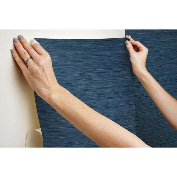 Roommates Grasscloth Blue Vinyl Peelable Wallpaper Covers 28 18 Sq Ft Rmk11314wp The Home Depot Grasscloth Peel And Stick Wallpaper Peelable Wallpaper