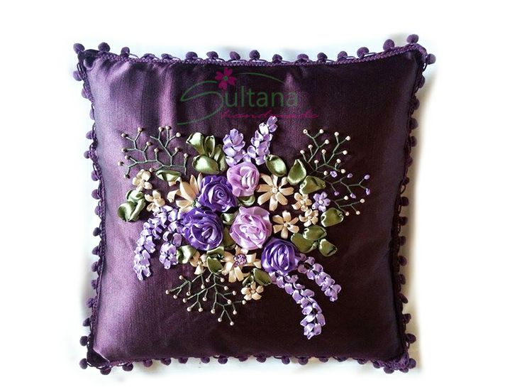 Handmade embroidery cushion cover with silk ribbons https://www.facebook.com/photo.php?fbid=793535807337260&set=a.790520527638788.1073741855.575744762449700&type=1&relevant_count=1