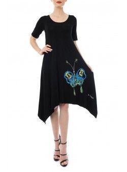 Rochie din jerse negru cu fluture pictat RZ168