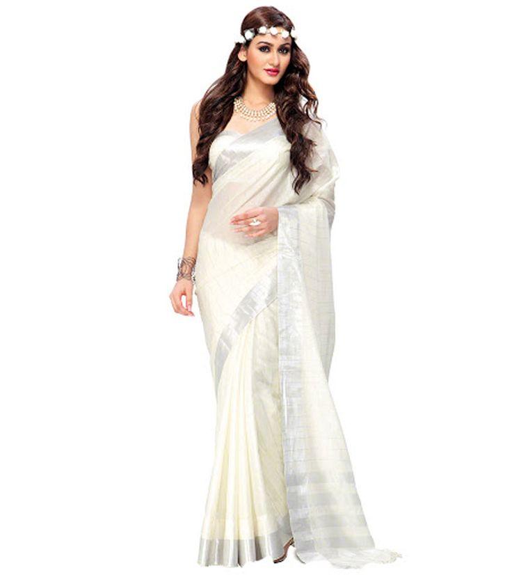 Naksh - White Colour Cotton Silk Printed Saree With Unstitched Blouse Piece