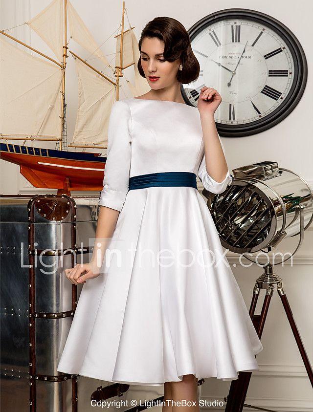 corte en a bateau neck hasta la rodilla satén vestidos de novia