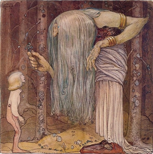 John Bauer, an illustration for The Boy Who Could Not be Scared by Alfred Smedberg in the anthology Among Pixies and Trolls, 1912: