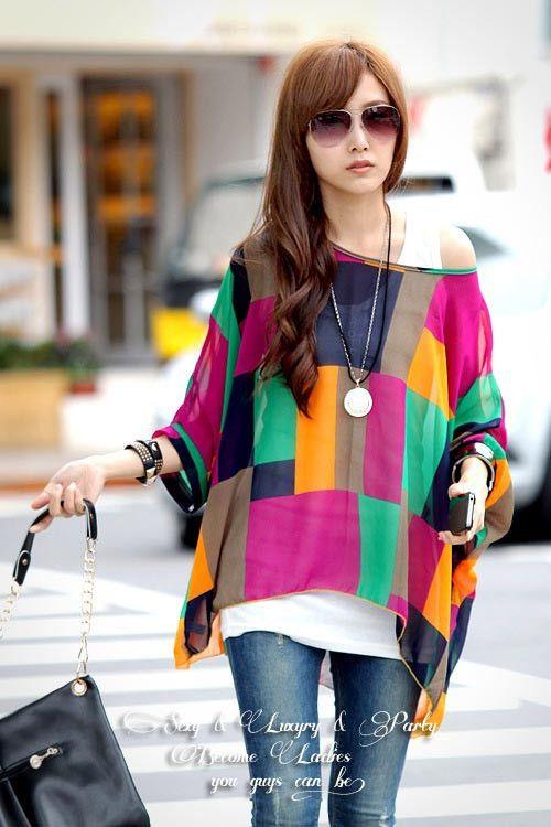 卸売2014春夏ブラウス新しいファッションシフォンブラウスシャツ女性の花のストライプカジュアルなバットウィングトッププラスのサイズXXXXLインAliexpress.com上の女性の衣料品からブラウス&シャツ| アリババグループ