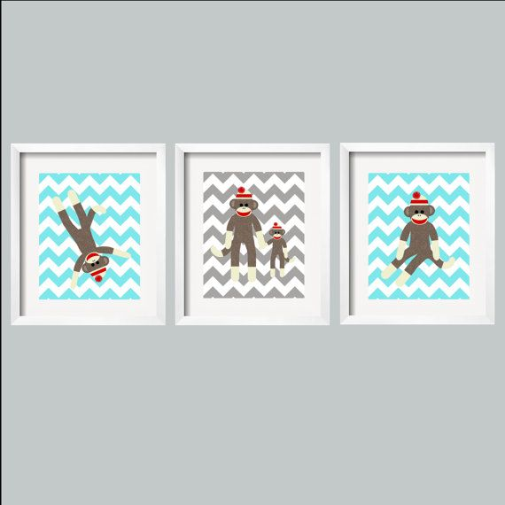 Sock Monkey Chevron Print Nursery Art Decor in aqua and Gray for Children Perfect for Nursery Playroom or toddler room 8x10 baby shower gift