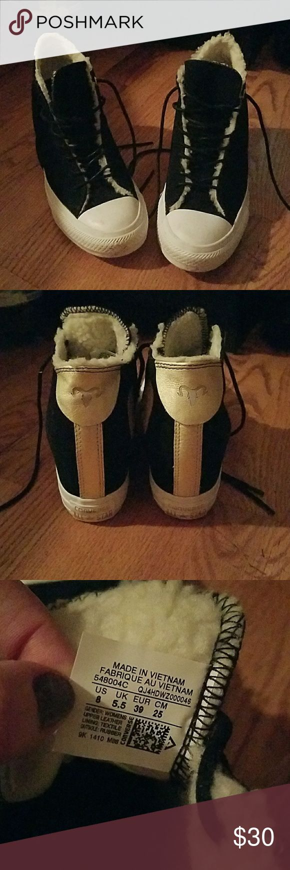 Converse wedge sneakers Black and White...Fuzzy lined....So cute!   Brand new never worn! Converse Shoes Sneakers