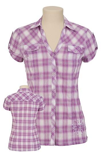 Plaid: Dreams Closet, Fashion Clothing, Purple Plaid Mauric, Girls Shirts, Embroidered Plaid, Shorts Sleeve, Plaid Shirts, Sleeve Embroidered, Beautiful Clothing