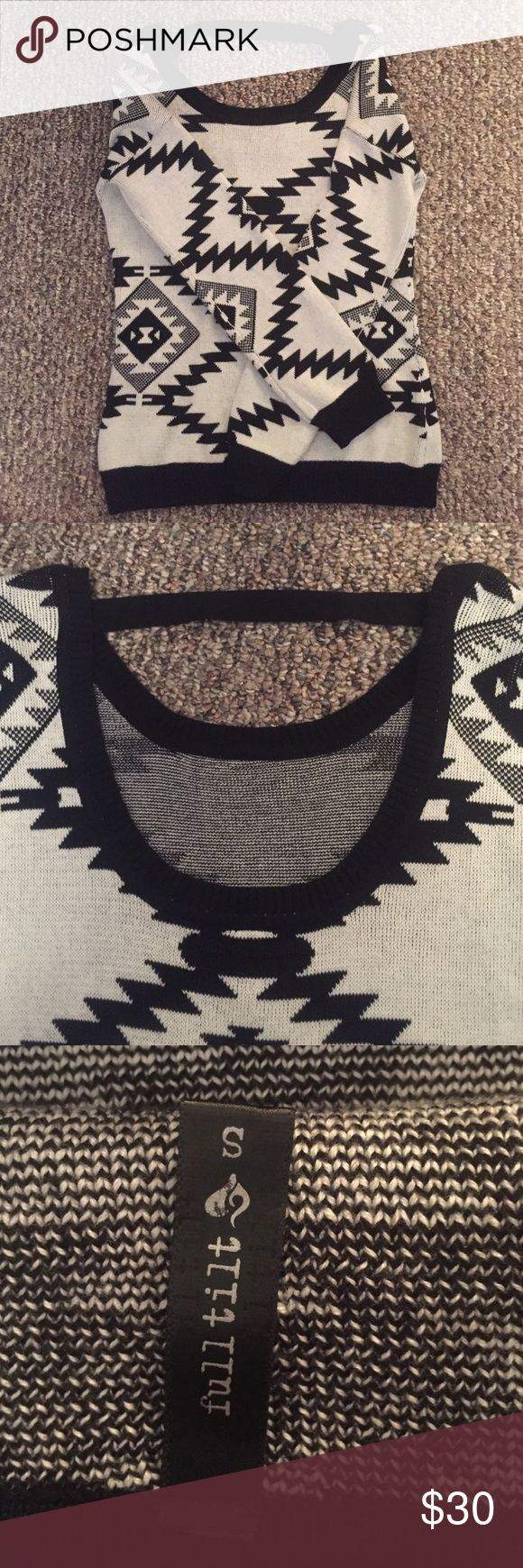 Bar back tribal print sweater - full tilt s Worn once cute tribal print sweater from full tilt!! I bought it at tillys but ended up not liking it, it has a cute open bar back!! Size small Full Tilt Sweaters Crew & Scoop Necks
