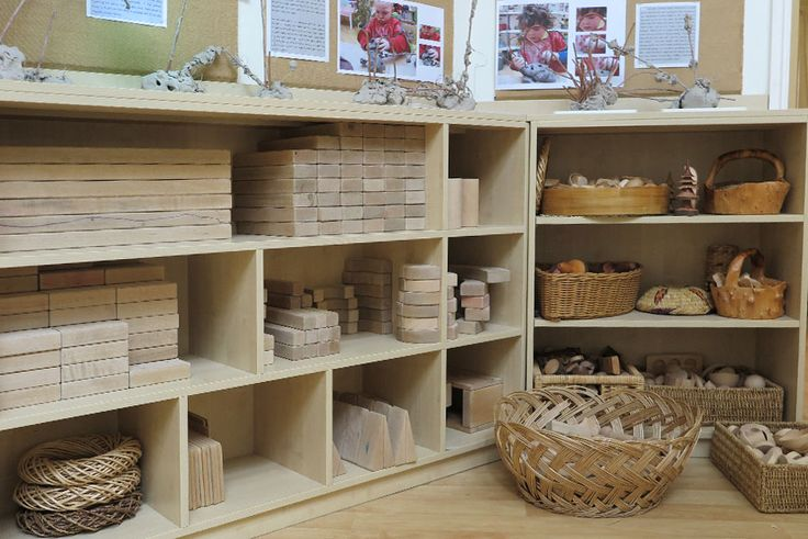 Use of Various Baskets to Store Small Blocks & Accessories (from Wingate Nursery School & Children's Center via Community Playthings)