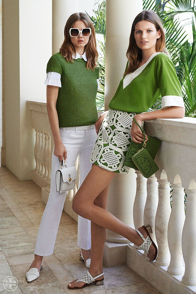 Crisp shades of green and white | Tory Burch Summer 2014