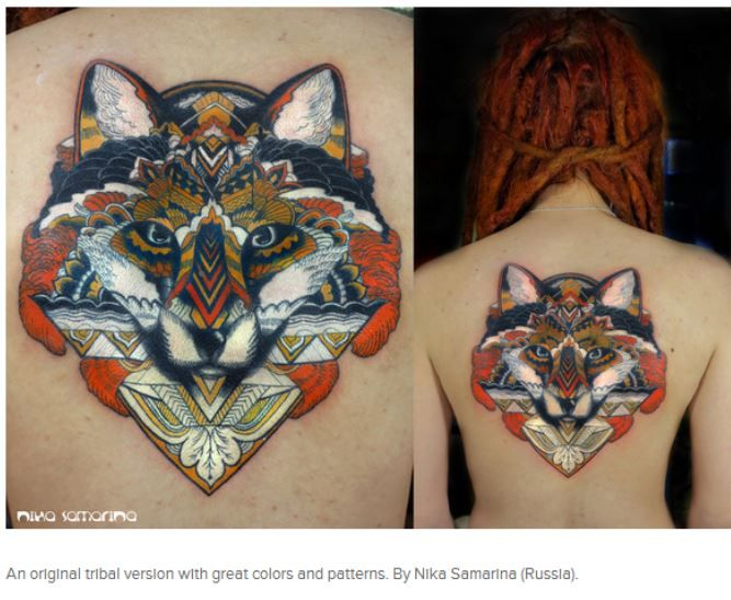 An original tribal version fox tattoo with great colors and patterns. By Nika Samarina (Russia).