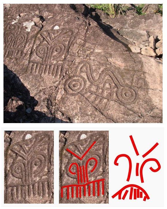 Un grup de petroglife, executate în stâncă de populaţia maya, care fac parte din complexul arheologic El Cerro de la Máscara amplasat în vestul Mexicului, şi a căror vârstă este estimată între 800 şi 2500 ani, sunt identice cu simbolurile incizate pe inelul sigilar descoperit la Seimeni, şi cu grupul de simboluri incizate în partea superioară a statuetele antropomorfe aparţinând culturii de epoca bronzului Zuto Brdo - Gârla Mare: https://sites.google.com/site/seimenineoliticsipreneolitic/