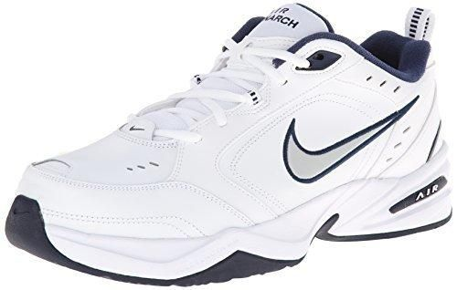 Nike Men's NIKE AIR MONARCH IV (4E) RUNNING SHOES -10; White / Metallic Silver-Midnight Navy