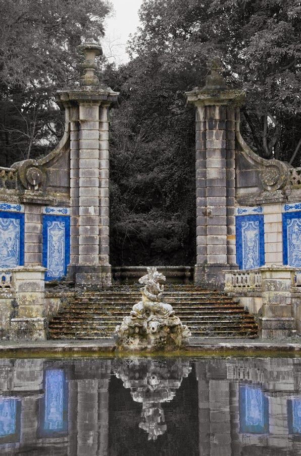 The garden lake next to La Quinta do Marques de Pombal, Oeiras, Portugal. A rare example of Baroque architecture in Portugal, the house and extensive gardens are now a part of the Ministry of Agriculture but it has been badly neglected and ruined.