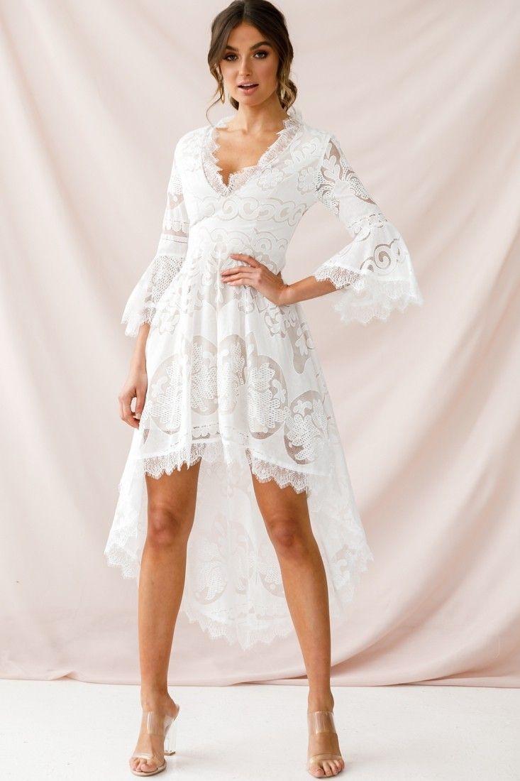 Chantilly High Low Bell Sleeve Dress White Lace White Dress White Short Dress Lace Dress With Sleeves [ 1100 x 733 Pixel ]