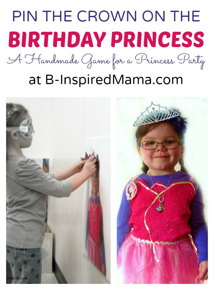Playing Pin the Crown on Priscilla at the Happy Birthday Princess Party at B-InspiredMama.com