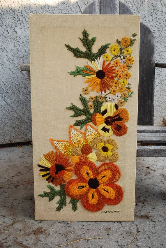 Vintage Crewel Embroidery Wall Hanging by vintagebitsandpieces, $28.00