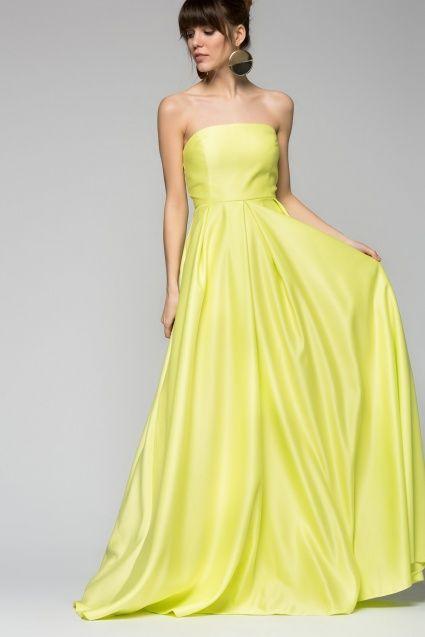 Straplez Sarı Elbise / #Yellow #Gown.