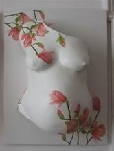 Gipsabdruck vom Babybauch Magnolienzweige von Bauchkunst Beate Emmer