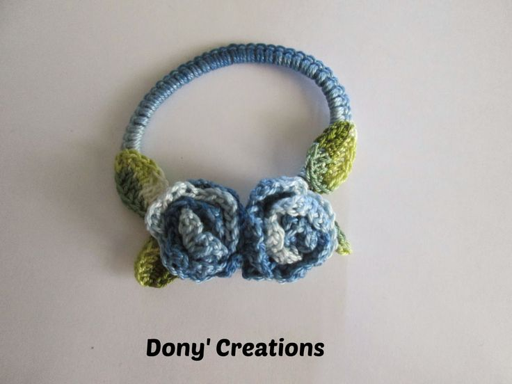 Dony's Creations : Elastico capelli rivestito in uncinetto _ pattern free italiano- embellished hair elastic-charted-free