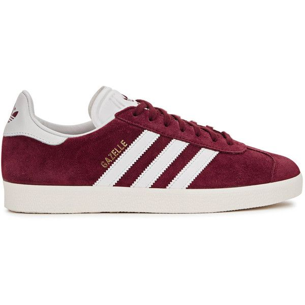 adidas originals Gazelle burgundy suede trainers ($99) ❤ liked on Polyvore featuring shoes, sneakers, adidas, burgundy sneakers, lacing sneakers, stripe shoes, adidas originals sneakers and lace up sneakers