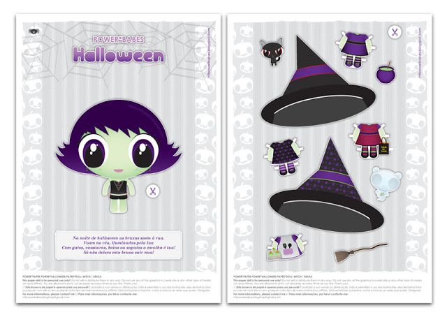 Witch Dress up paper doll free Printable //The Power*Babes Collection