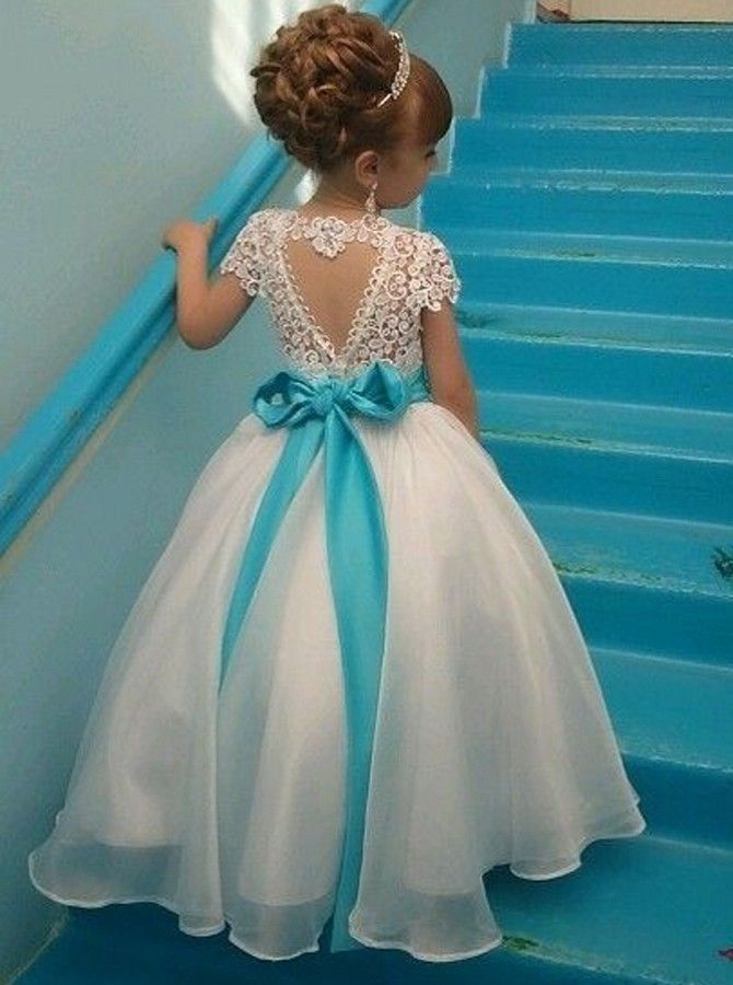 cute white long flower girl dress