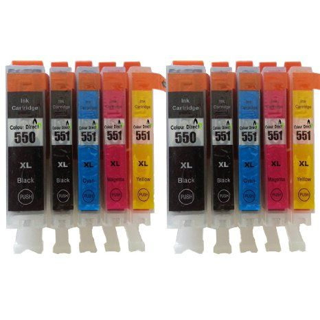 10 XL ColourDirect Cartouches d'encre compatible pour CANON PGi-550XL / CLI-551XL - for CANON Pixma MG5450 MG5550 MG6350 MG6450 MX725 MX925 IP7150 iP7250
