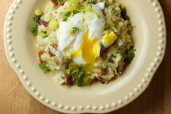 Bacon and Leek Risotto with Poached Egg from Framed Cooks