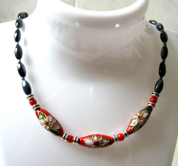 Simple Everyday Cloisonne and Shell Bead Short by SunEnerChic