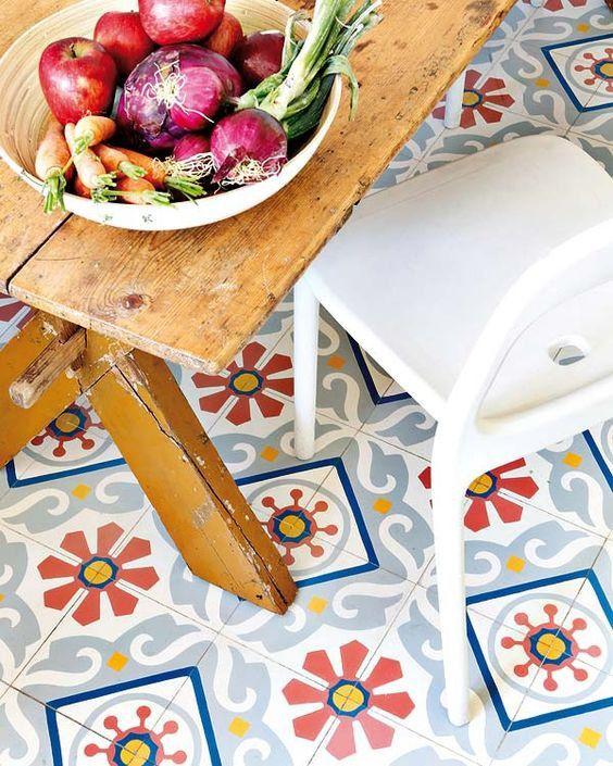 Un toque Vintage en la cocina con baldosas hidráulicas