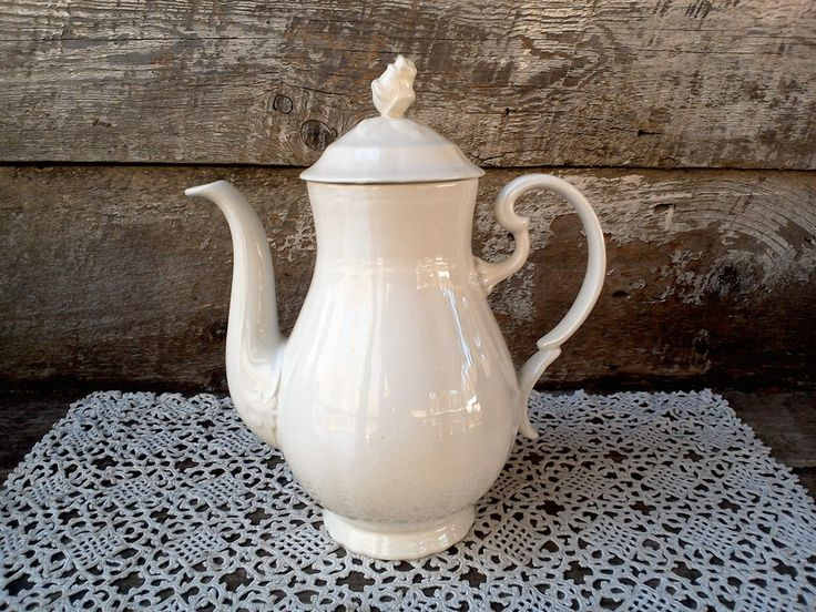 Vintage White Ironstone Tea Pot from Spain, Alhambra Arita, Santa Clara