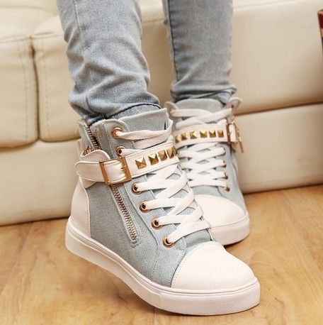 Drop shipping New 2014 women sneakers for brand wedge female flat heel sports running shoes Leisure Rubber Shoes