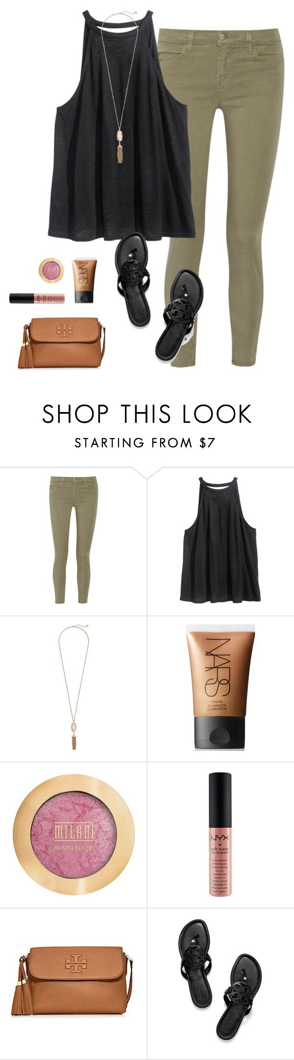 """OOTN"" by prep-lover1 ❤ liked on Polyvore featuring J Brand, H&M, Kendra Scott, NARS Cosmetics, Milani, NYX and Tory Burch"