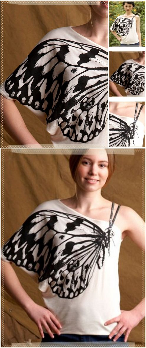 Butterfly wing shirt - Beautiful butterfly artistically printed on a well cut one shoulder organic cotton top. Adjustable left shoulder straps represent the butterfly's antennae. YOU CAN DO YOURSELF TOO! http://www.btcelements.com/products/?view=sub_product=2585