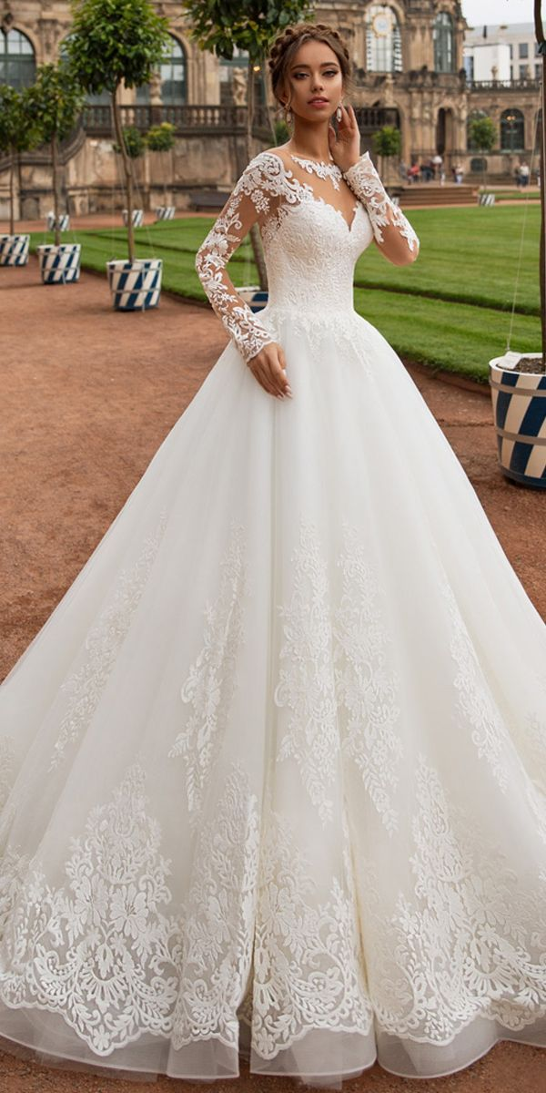 Modest Tulle Jewel Neckline A-line Wedding Dress With Lace Appliques & Beadings …
