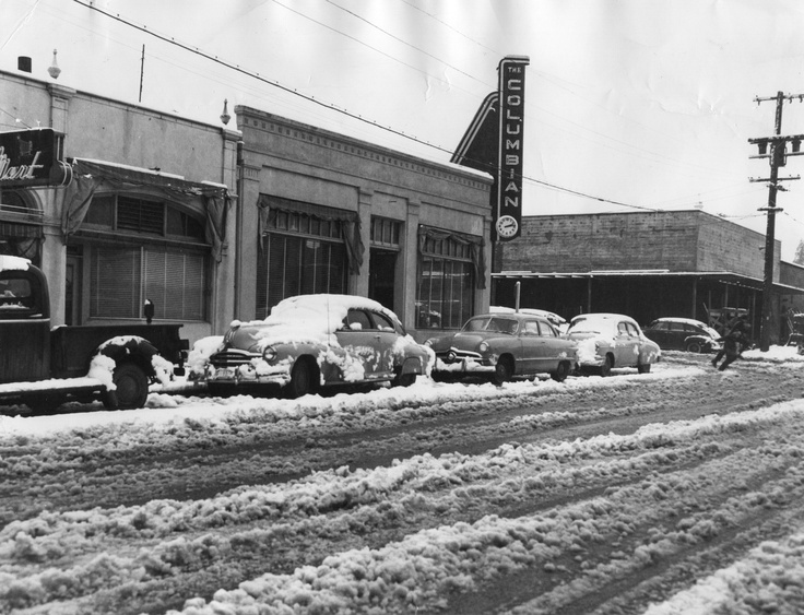 March 8, 1951, five inches of snow fell in Vancouver. Old Columbian building on 11th and Broadway.