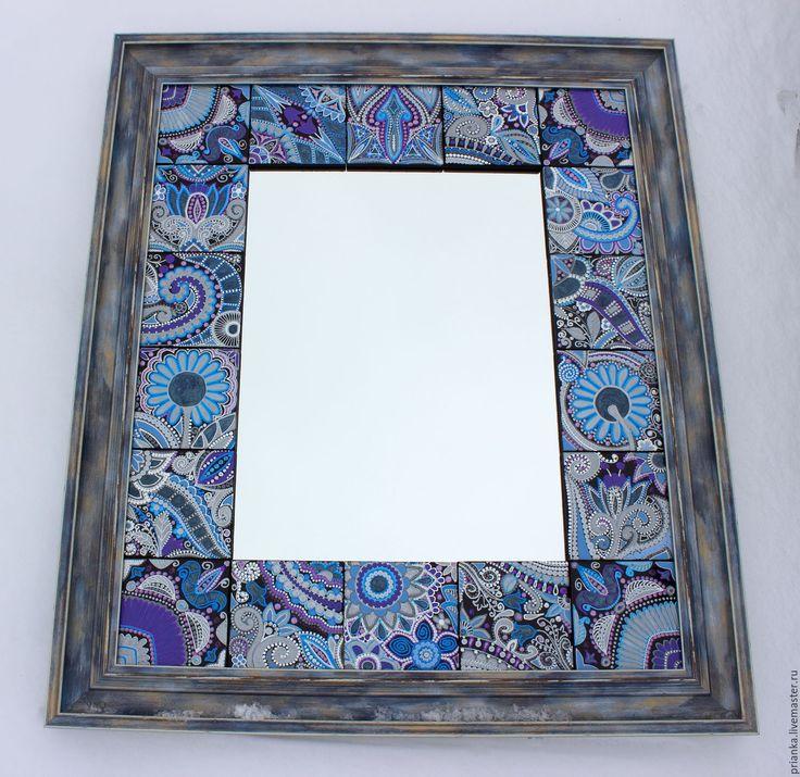 Купить Интерьерное зеркало в технике интуитивной росписи. - синий, зеркало настенное, зеркало ручной работы