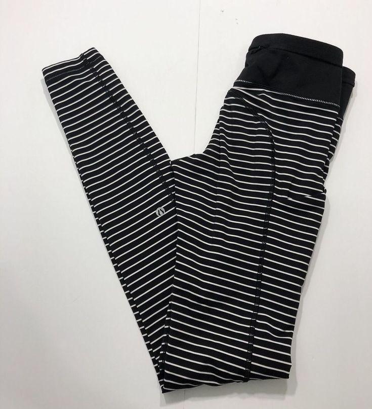 Lululemon Speed Tight II Parallel Stripe Black White Leggings Size 4 RARE   | eBay