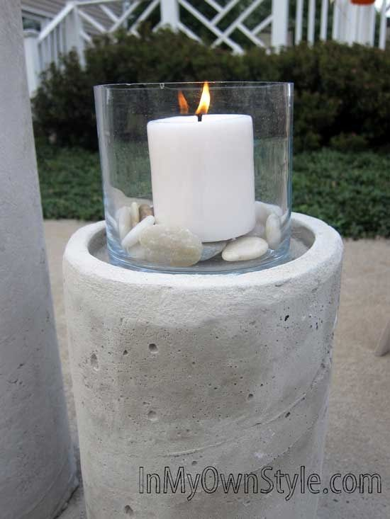 cement candle pillars for outside...easy!  I'm thinking mosaics on the sides too!