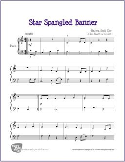 FREE Star Spangled Banner sheet music. C major, two hands (not together) and dotted quarter eighth note rhythms. Its not rhythmically simple, but might be a good way to make some of those more difficult rhythms stick with a familiar tune.