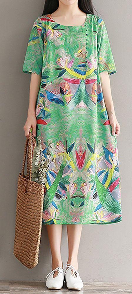 Women loose fit over plus size silk graffiti flower dress maxi tunic fashion #Unbranded #dress #Casual
