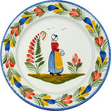 """20-12-11  Breton faience plate  Quimper is located in north western France in the Finistère region (the western part of Bretagne). The name Quimper comes from the Breton word """"kemper"""" meaning """"confluence""""; a fitting name for a city in which three rivers (the Odet, Jet and Steir) meet.  Quimper is known for its lovely faïence earthenware pottery and, of course, its buckwheat crêpes (the official dish of Bretagne) and local hard cider."""