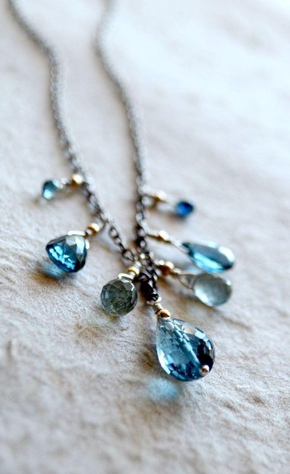 """Kekaimalu means """"The peaceful sea."""" Blue gemstone necklace by Kahili Creations of Hawaii..."""