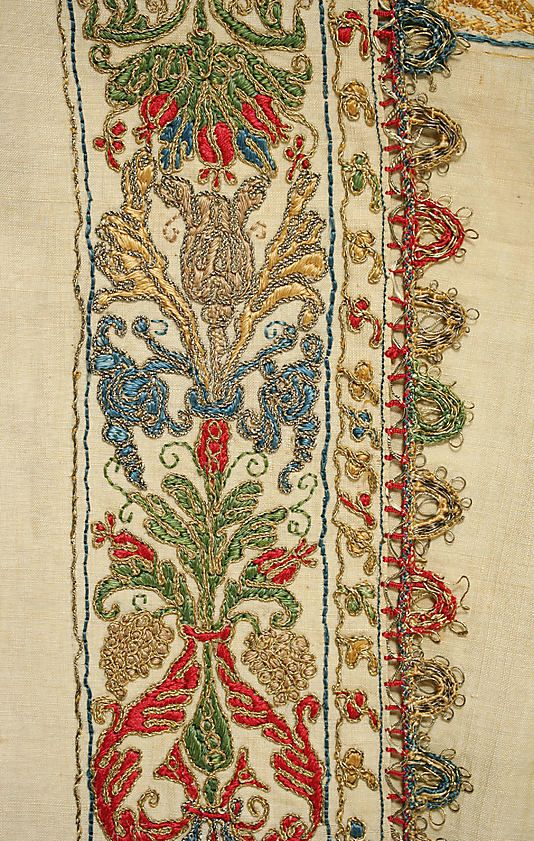 16th century Undershirt with polychrome embroidery