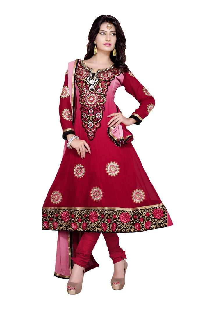 Maroon Color #Embroidered Semi-Stitched #Salwar Suit Fabdeal presents salwar suits that have a distinctly rural feel to them, making it simply perfect for the monsoon season. Keep the jewellery and accessories to the minimum and let the amazing detail of this set stand out. Available in 14% Discount @aimdeals