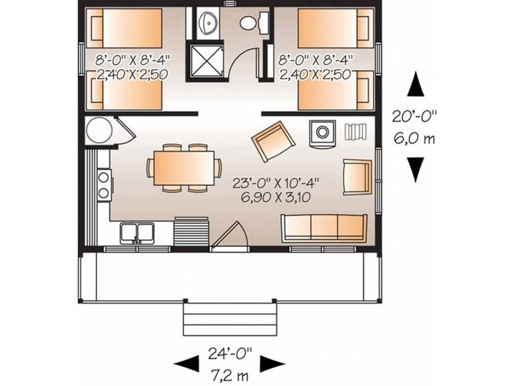 108 best images about garage apartment on pinterest 2nd - Architectural plan of two bedroom flat with dining room ...