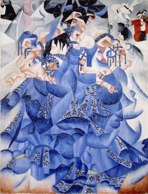 Blue Dancer, 1912. The dance was one of Gino Severini's favourite themes, and was emotively tied to the café life in Paris. Severini painted the Blue dancer together with The White Dancer in the second quarter of 1912. Also 1912 was the year Severini came to terms with the Cubism of his friends Pablo Picasso and Braque, using it specifically as a means of expressing movements, which was his chief concern at the time.