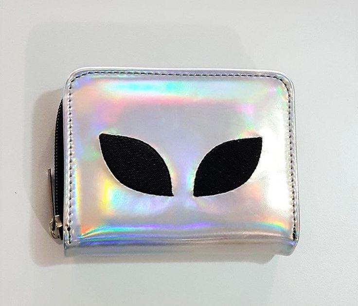 Alien Hologram Wallet, Holographic Zippered Pouch, Pleather Vegan Wallet, Gift #Unbranded #Envelope