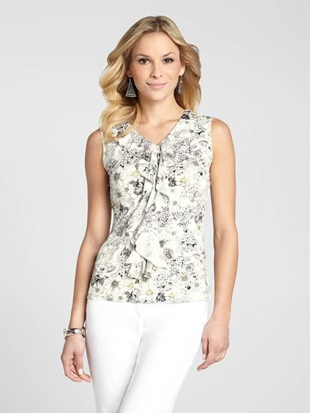 """Laura Petites: for women 5'4"""" and under. Have fun with florals and give your Spring style a stunning update. The perfect printed piece for work, it also features a ruffle front for a touch of feminine flair.4010337-0749"""