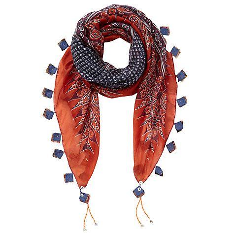 Buy East Ella Print Silk Scarf, Rust Online at johnlewis.com